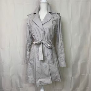 CABI Gray Light Taupe Snap Cloud Trench Coat LARGE